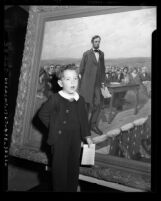 Billy Henry, age four, recites Gettysburg Address during Abraham Lincoln commemoration Glendale, Calif., 1947