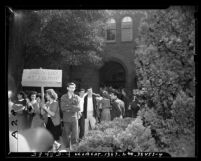 John C. Fremont High School students walking out of classes in protest of enrollment of black students in Los Angeles, Calif., 1947