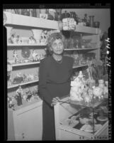 Isabel Crocker in her gift shop, must vacate due to non-Caucasian deed restriction in Los Angeles, Calif., 1947