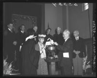 Chinese Methodists burn church mortgage in ceremony in Los Angeles, Calif., 1950