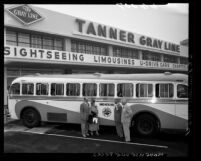 Tanner Gray Line Tours Company businessmen standing out front of company's Los Angeles headquarters at 1207 W. 3rd Street, 1950