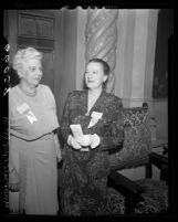 Edna L. Scott and Blanca Holmes at American Federation of Astrologers convention in Los Angeles, Calif., 1950