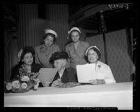 Descendents of Los Angeles pioneer families, Adelaide P. Mitchel,  Mary E. Foy, Rose Zobelein Lick, Alice O'Neill Moiso and Julia Stearns Dockweiler, 1950