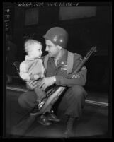 California National Guardsmen, Master Sgt. James D. Steele with his two-year old son, 1950
