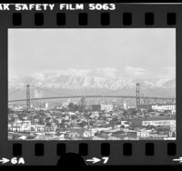 Cityscape with Vincent Thomas Bridge and San Gabriel Mountains, Calif., 1979