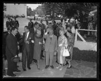 Nikita Khrushchev arrives for luncheon at 20th Century-Fox studios in Los Angeles, Calif., 1959