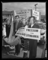 Protest at Our Lady of Bright Mount Church against the Soviet Union's Premier Nikita Khrushchev's visit to Los Angeles, Calif., 1959