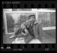 Artist Carlos Almaraz in his studio, Los Angeles, Calif., 1989