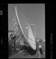 Satellite dish at IDB Communication in Culver City, Calif., 1989