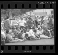 Operation Rescue protestors blocking street in front of clinic in Long Beach, Calif., 1989