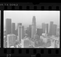 Cityscape with construction of Library Tower [US Bank Tower], Los Angeles, Calif., 1989