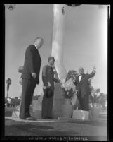 Dedication of a memorial tower for Nisei who died serving the United States, Santa Monica, Calif., 1959