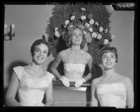 Misses Isabel Adelaide Travis, Ashley Read and Anne Pierose at Valley Hunt Club Debutante Ball, Calif., 1959