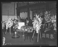 Jokai Kow conducting funeral service for Buddhist Bishop Ryotai Matsukage in Los Angeles, Calif., 1948