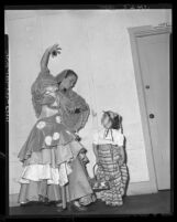 Dancer Isabellita Aroza and Lupe Franceschi at pageant depicting Los Angeles' first American Independence Day, 1948