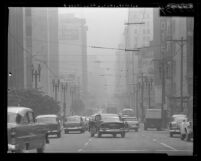 Smoggy day in Los Angeles, Calif., 1960