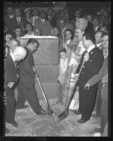 Charles P. Skouras, theater magnate breaks ground for new Greek Orthodox Church in Los Angeles, Calif., 1948