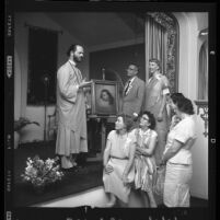 Reverend Kriyananda lectures on teachings of Paramahansa Yogananda at a Los Angeles Self-Realization Fellowship meeting in 1960