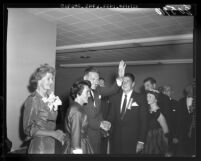 Mr. and Mrs. Lodge are greeted by Mr. and Mrs. Ronald Reagan prior to Lodge's Republican dinner in Los Angeles, Calif., 1960