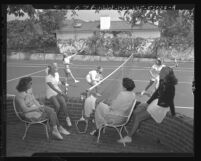 Women warming up for amateur tennis charity tournament in Los Angeles, Calif., 1948