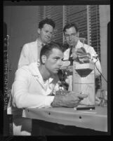 Atomic Students Maj. C. H. Talbott, Dr. Harold Copp and Maj. H. Sprinz at UCLA, 1948