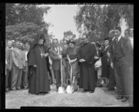 Charles Merjanian and Archbishop Mampre Cayfayan at ground breaking for building at St. James Armenian Church in Los Angeles, Calif., 1948