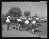 Marimba players practice for Los Angeles Times Charity football game in 1948
