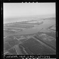 Aerial view of Marina del Rey Harbor construction, Calif., 1961