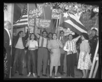 Cuban refugees outside the Cuban Consulate to show approval of U.S. break with Cuba, Los Angeles, 1961