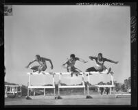 Three UCLA hurdlers at SPAAU relays in Los Angeles, Calif., 1961