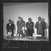 Elijah Muhammad, leader of Muslim Brotherhood, holding press conference in Los Angeles, Calif., 1961