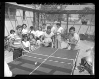 Group of teenagers playing ping-pong at Jewish Community Center in Los Angeles, Calif., 1948