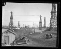 Oil field littered with oil well derricks in Inglewood, Calif., circa 1920