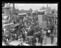 Independent Order of Foresters arriving at Avalon Catalina Island, Calif., circa 1921