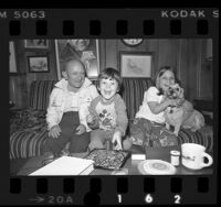 Actor Billy Barty at home with his daughter and son in Los Angeles, Calif., 1976
