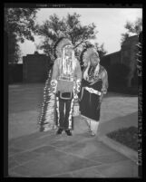 Iron Eyes Cody and Willowbird at services for Charles Wakefield Cadman in Glendale, Calif., 1947