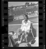 Renee Richards (aka Richard Raskind) being interviewed in Newport Beach, Calif., 1976
