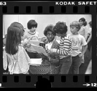 Teacher Lorene Bradley with her 4th and 5th grade students in Sherman Oaks, Calif., 1976