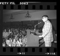 Groucho Marx speaking before crowd at the Los Angeles Book Fair, 1976