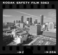 View from Otani Hotel of Los Angeles skyline, Calif., 1976