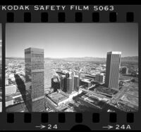Cityscape view from Crocker Plaza building looking east in downtown Los Angeles, Calif., 1976