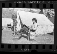 "Michael Landon on the set of ""Little House on the Prairie"" television program, Calif., 1976"