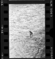 Lone surfer in whitewash of waves on Manhattan Beach, Calif., 1977
