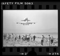 Space Shuttle Enterprise, riding piggyback on 747, landing after maiden test flight, Calif., 1977