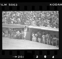 Dodgers' Steve Garvey being cheered by fans on Steve Garvey Day, Calif., 1977