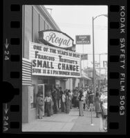 "People lined up outside Laemmle's Royal movie theater showing ""Small Change"" in Los Angeles, Calif., 1977"