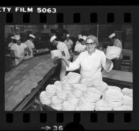 Helen Lugo and workers at El Dorado tortilla factory in Los Angeles, Calif., 1977