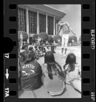 Children watching a mime perform during festival at the Music Center in Los Angeles, Calif., 1977