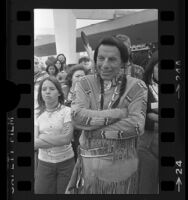 Iron Eyes Cody at Indian show in Santa Monica, Calif., 1977