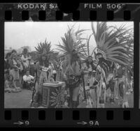 Aztec dancers at Indian Ceremonial Show and Pow-wow in Santa Monica, Calif., 1977